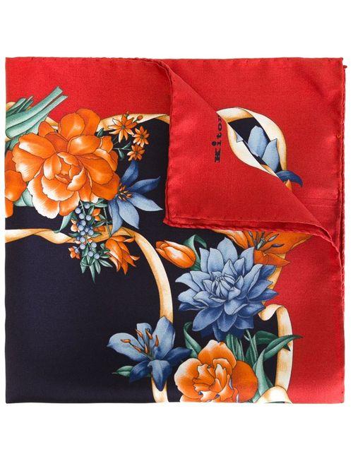 Kiton   Мужской Красный Нагрудный Платок С Цветочным Принтом