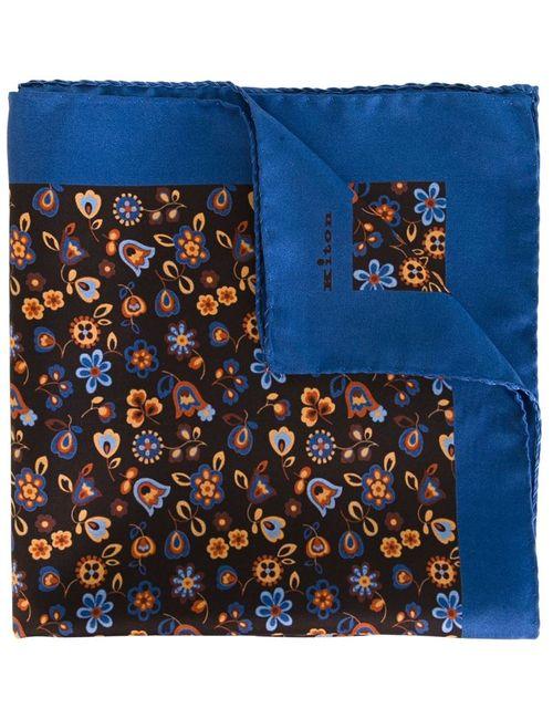 Kiton | Мужской Синий Нагрудный Платок С Цветочным Принтом