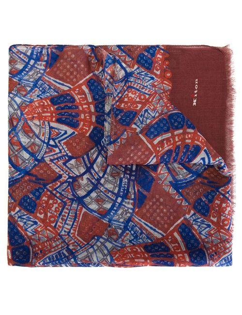 Kiton | Мужской Синий Шарф С Краями С Бахромой И Абстрактным