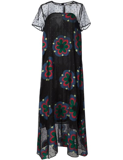 Suno | Женское Чёрный Embroidered Chiffon Printed Maxi Dress