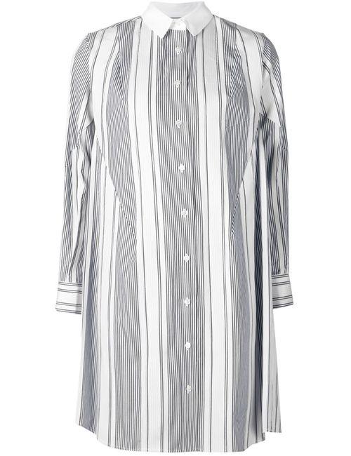 Sacai | Женское Синее Платье-Рубашка В Полоску
