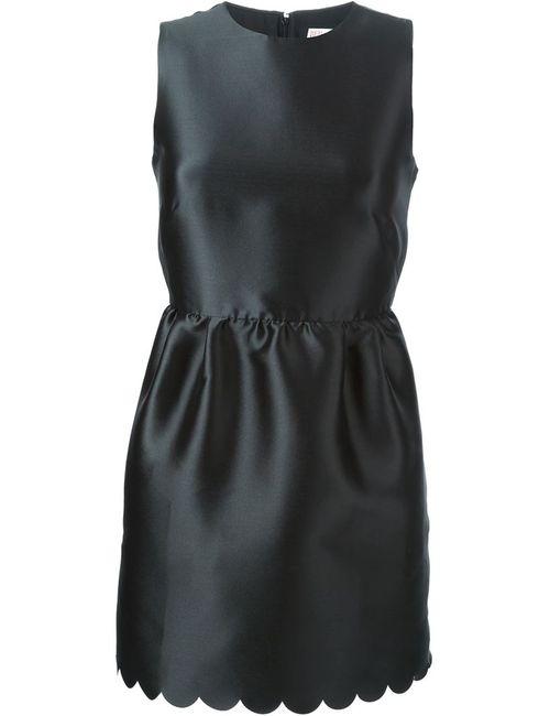 Red Valentino | Женское Чёрное Платье С Волнистой Отделкой