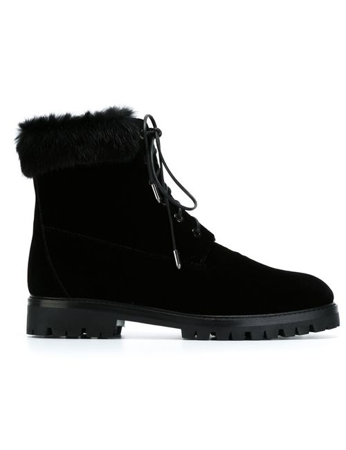 Aquazzura   Женские Чёрные Ботинки На Шнуровке