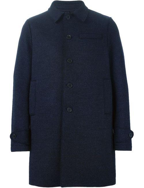 Harris Wharf London   Мужское Синее Однобортное Пальто
