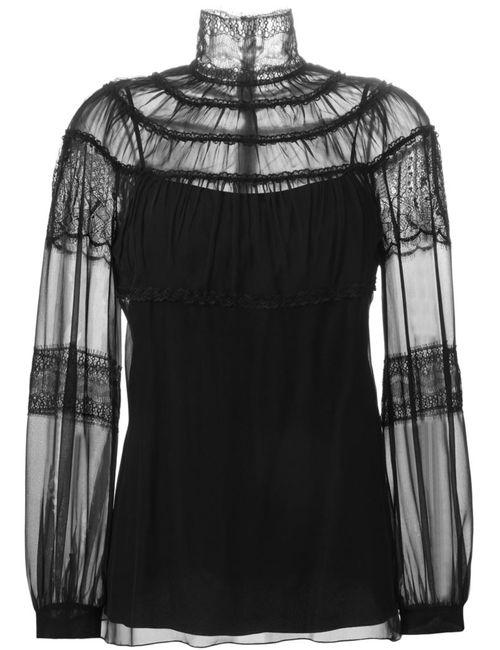 Alberta Ferretti | Женская Чёрная Блузка С Кружевными Вставками