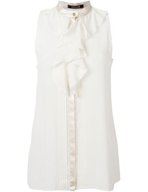 Roberto Cavalli | Женская Белая Блузка С Кружевными Вставками