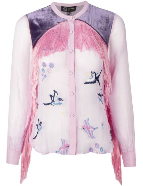 SRETSIS   Женское Розовый Fringe Embroidered Blouse