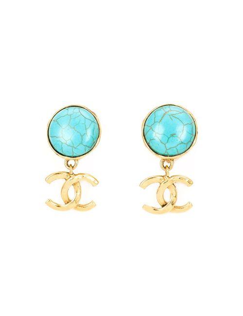 Chanel Vintage | Женские Синие Клипсы-Подвески С Логотипом