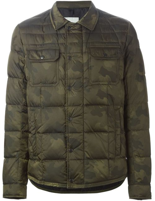 Moncler   Мужская Зелёная Дутая Куртка С Камуфляжным Принтом