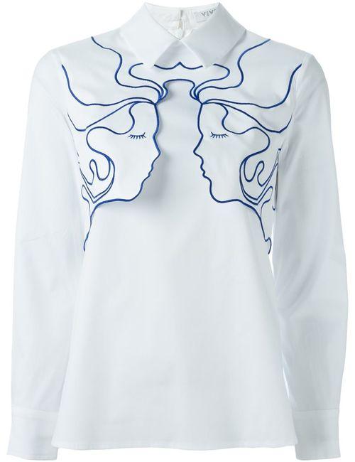 Vivetta | Женская Белая Рубашка С Аппликацией Лиц