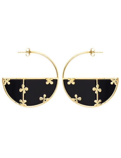 Aurelie Bidermann | Женское Чёрный Bianca Reversible Onyx Hoop Earrings