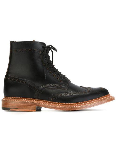 Grenson | Мужские Чёрные Ботинки С Перфорированным Дизайном