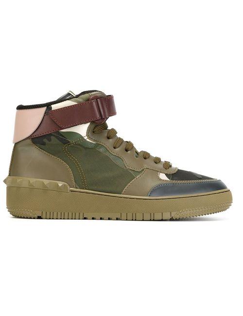 Valentino Garavani   Мужское Зелёный Camouflage Hi-Top Sneakers