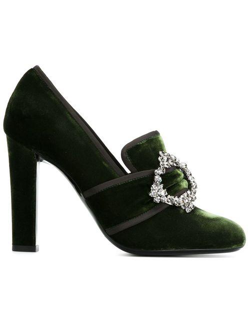 Alberta Ferretti | Женские Зелёные Декорированные Туфли С Пряжками