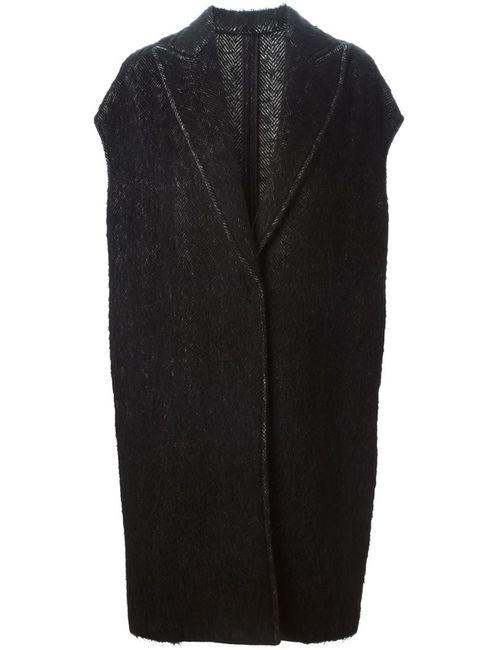 Alberto Biani | Женское Чёрное Пальто С Узором Елочкой