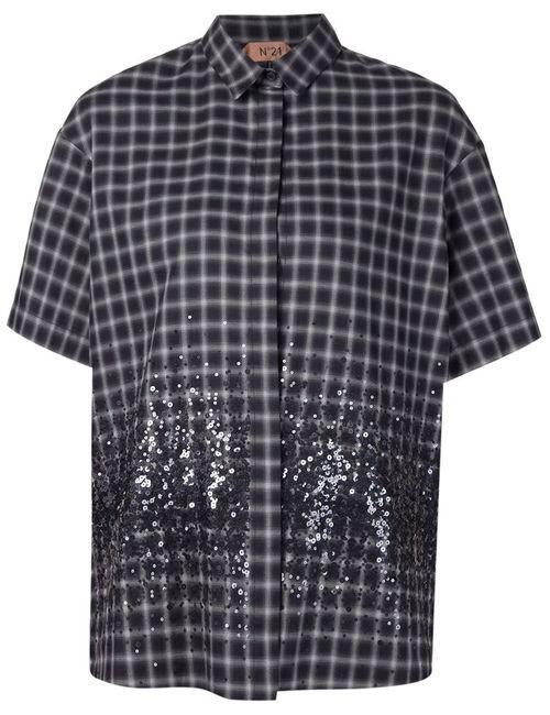 No21 | Женская Серая Рубашка В Клетку С Пайетками