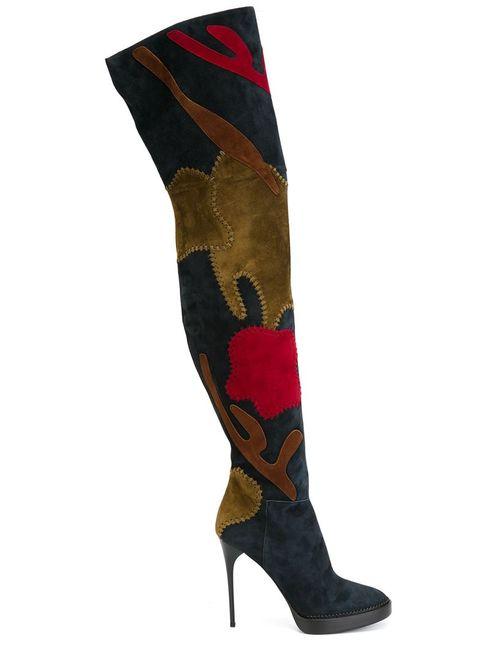 Burberry Prorsum | Женское Синий Thigh High Patchwork Boots