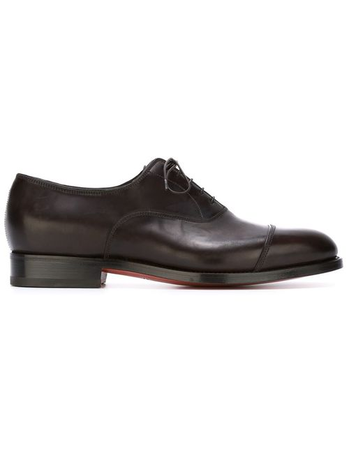 Santoni | Мужские Коричневые Туфли Оксфорды