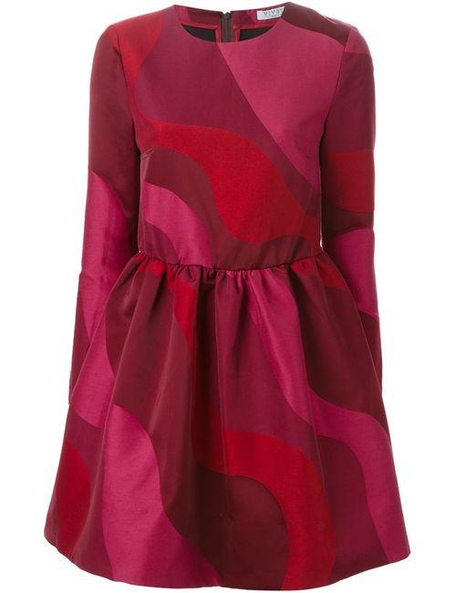 Vivetta | Женское Красное Расклешенное Платье С Волнообразным Узором