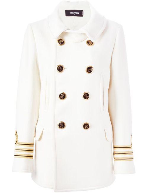 Dsquared2 | Женское Белое Двубортное Пальто