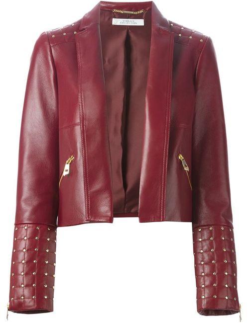 Versace Collection | Женская Красная Кожаная Куртка С Заклепками