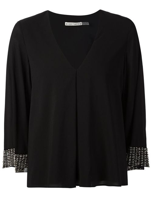 Alice + Olivia | Женское Чёрный Beaded Cuffs V-Neck Top