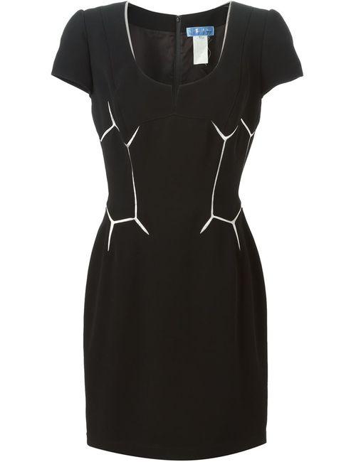 THIERRY MUGLER VINTAGE   Женское Чёрное Платье С Геометрическим Принтом