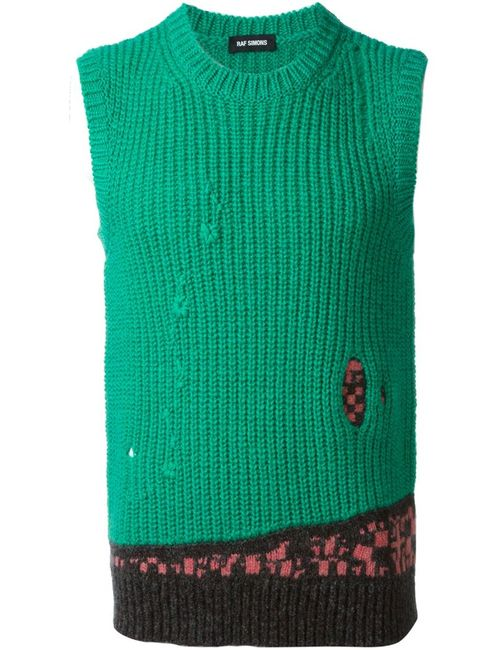 Raf Simons | Мужское Зелёный Knitted Vest