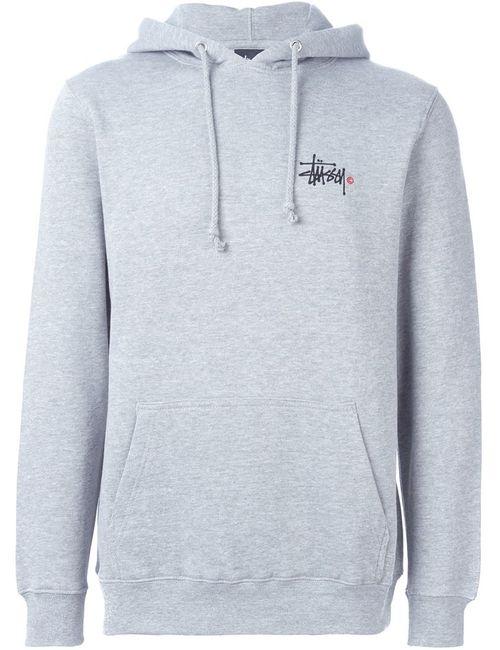 Stussy | Мужское Серый Logo Print Hoodie