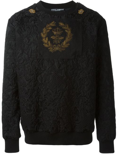 Dolce & Gabbana | Мужское Чёрный Bee And Crown Embroidered Patch Sweatshirt