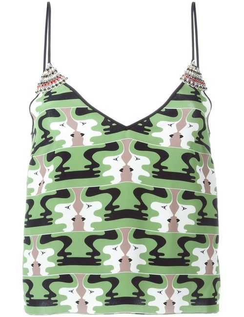 Holly Fulton | Женское Зелёный Printed Embellished Cami Top