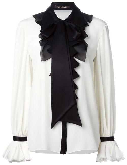 Roberto Cavalli | Женская Белая Блузка С Рюшами