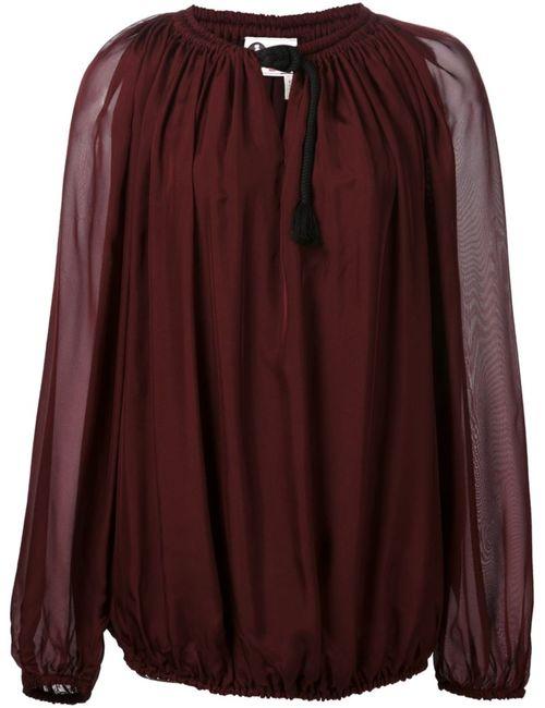 Lanvin | Женская Красная Прозрачная Блузка С Канатной Деталью