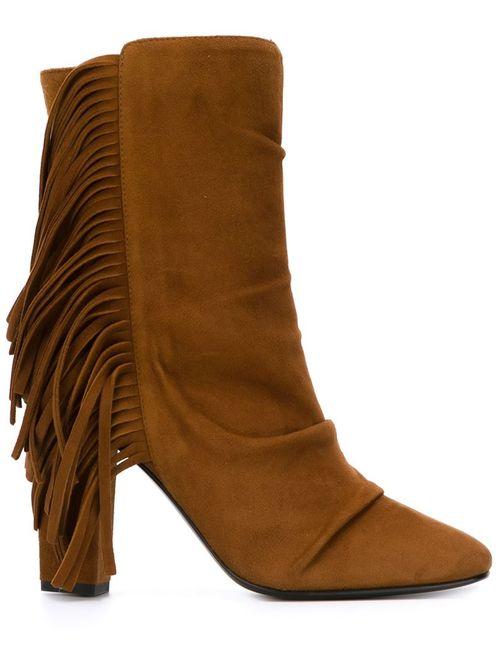 Giuseppe Zanotti Design | Женские Коричневые Ботинки По Щиколотку С Бахромой
