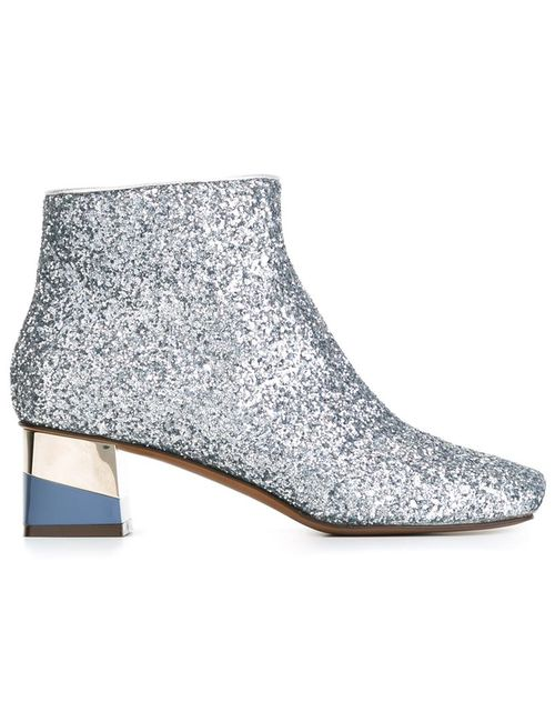 L' Autre Chose | Женские Серебристые Блестящие Ботинки На Контрастном Каблуке