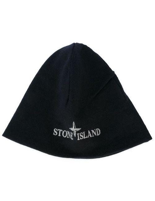 Stone Island | Мужская Чёрная Шапка С Вышитым Логотипом