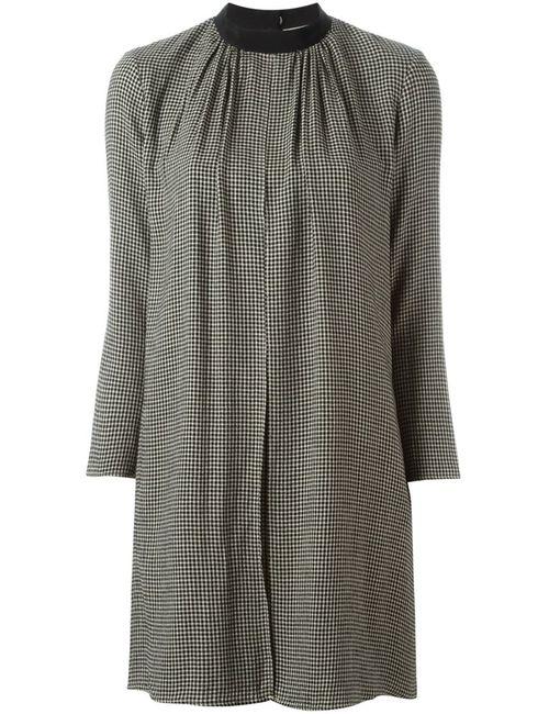 Maison Kitsune | Женское Чёрное Расклешенное Платье В Ломаную Клетку