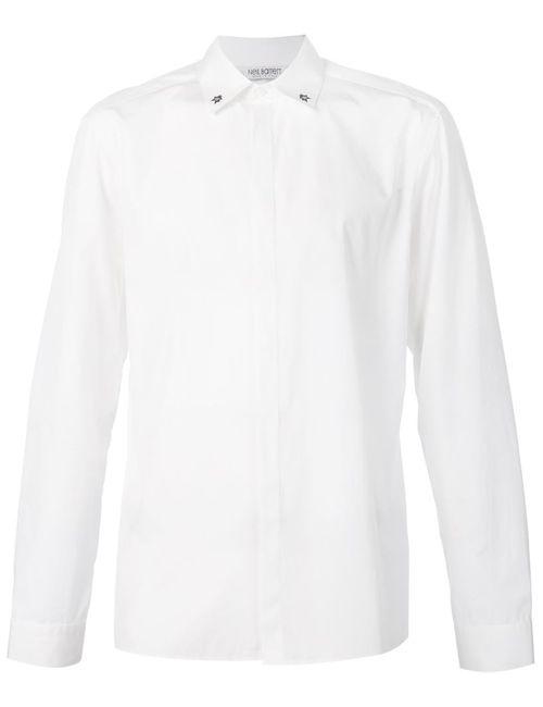 Neil Barrett | Мужская Белая Рубашка Со Звездами На Воротнике