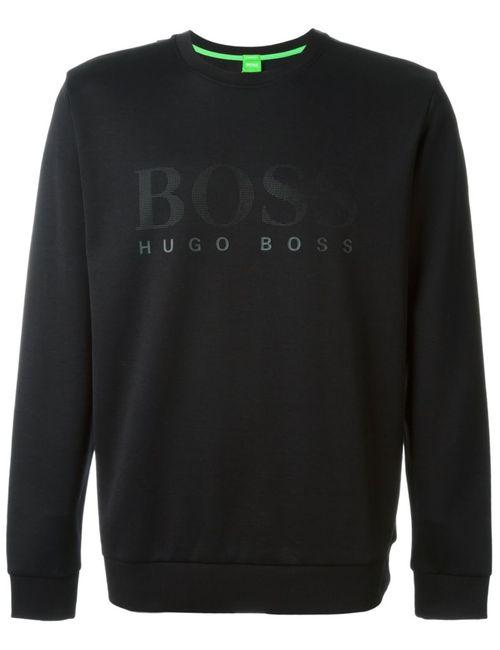 Hugo | Мужская Чёрная Толстовка С Принтом Логотипа