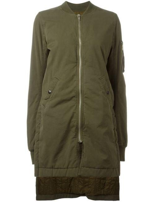 RICK OWENS DRKSHDW   Женское Зелёное Асимметричное Пальто