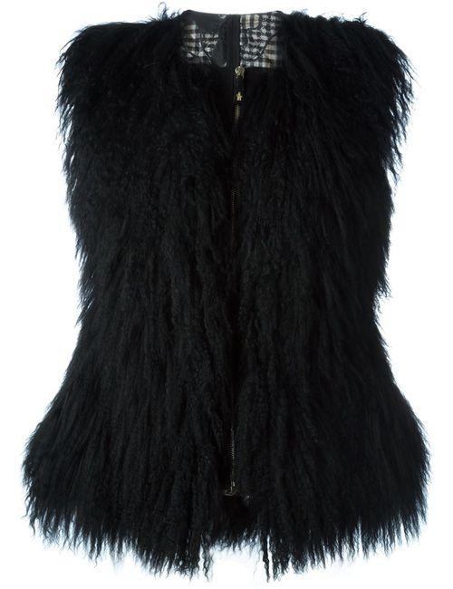 Moncler Gamme Rouge | Женский Чёрный Жилет С Меховой Панелью