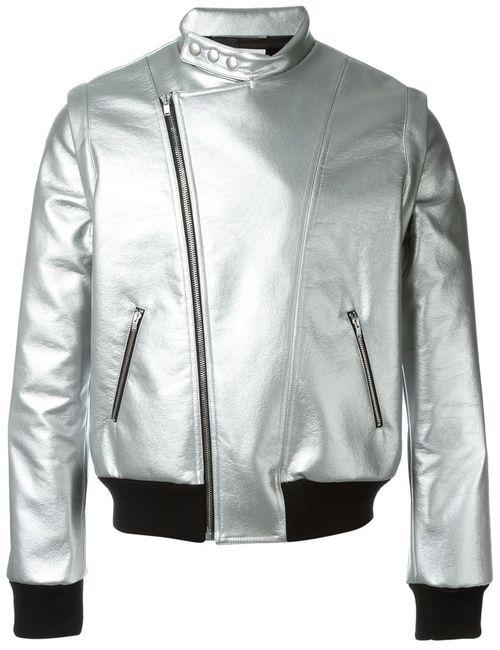 Saint Laurent | Мужская Серебристая Стилизованная Байкерская Куртка
