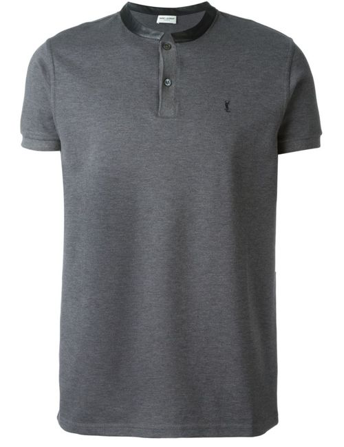 Saint Laurent | Мужское Серый Band Collar Polo Shirt