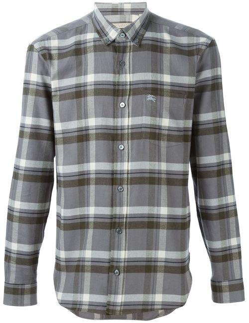 Burberry Brit | Мужская Серая Рубашка В Клетку С Воротником На Пуговицах