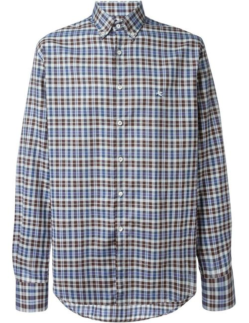 Etro | Мужская Многоцветная Клетчатая Рубашка С Воротником На Пуговицах