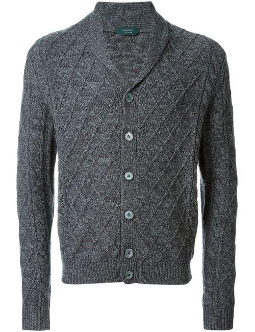 Zanone | Мужское Серый Diamond Knit Cardigan