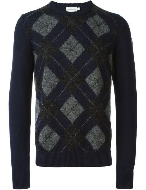 Moncler | Мужское Синий Argyle Patterned Intarsia Knit Sweater