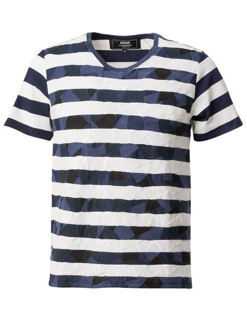 ANREALAGE | Мужское Синий Patchwork Stripe T-Shirt