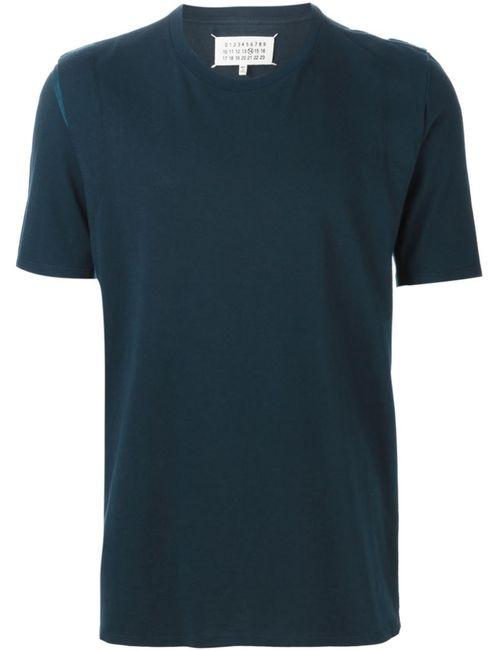 Maison Margiela | Мужская Синяя Футболка С Разрезами На Плечах