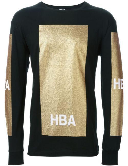HOOD BY AIR | Мужское Чёрный Panelled Logo Long Sleeved T-Shirt